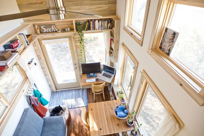 small desk view from the small bedroom Tiny Project - Mini House the Size of a Small Bedroom Design by Alek Lisefski