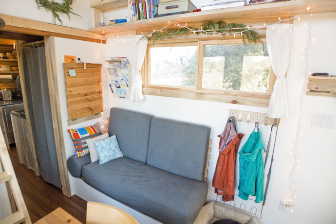 small couch Tiny Project - Mini House the Size of a Small Bedroom Design by Alek Lisefski