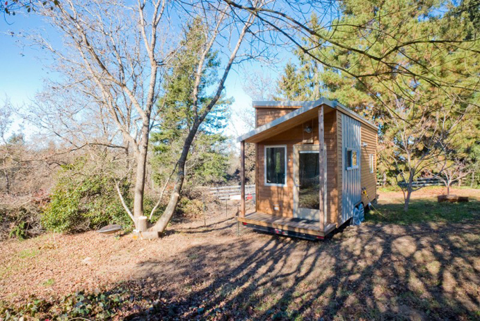 exterior view of the Tiny Project - Mini House the Size of a Small Bedroom Design by Alek Lisefski