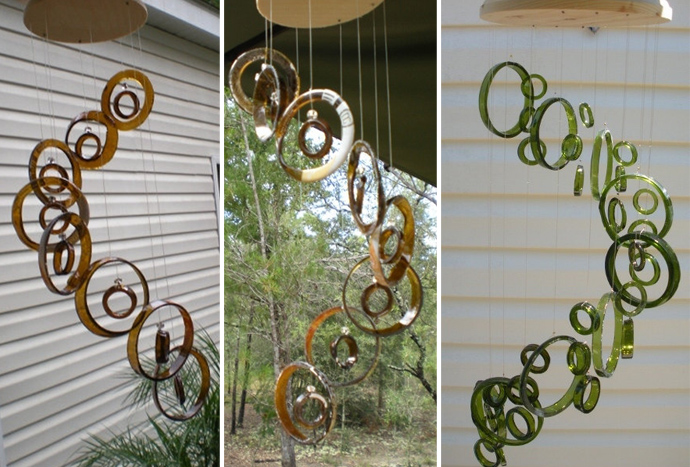wind chimes wine bottle art 20 Creative & Inspiring Ideas of How to Recycle Wine Bottles Into Pieces of