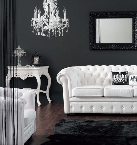 black and white leather sofa 21 Creative&Inspiring Black And White Traditional Living Room Designs