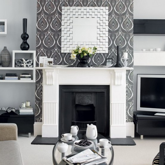 black and white fireplace 21 Creative&Inspiring Black And White Traditional Living Room Designs
