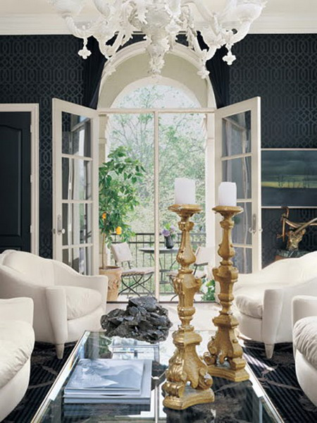 view to the exteror garden 21 Creative&Inspiring Black And White Traditional Living Room Designs