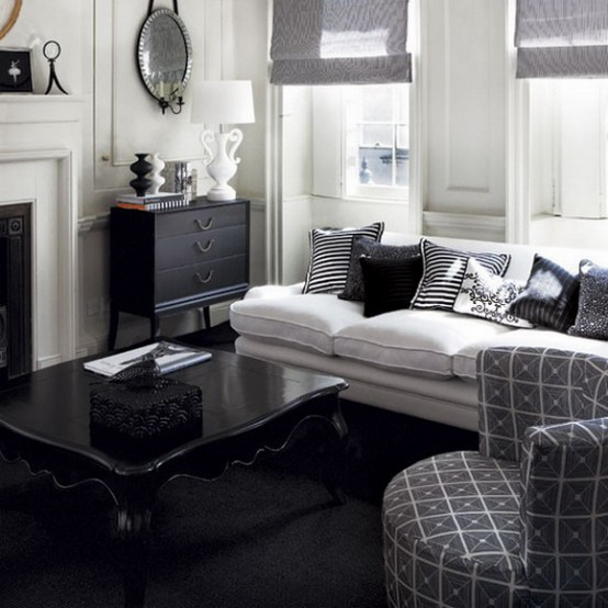 21 Creative&Inspiring Black And White Traditional Living Room Designs