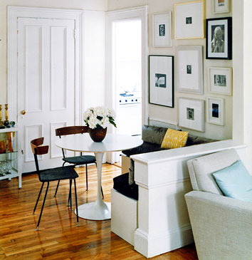 simple dinning area in white stark Small-Space-Design-Tips-Pack-Meant-to-Help-You-Enlarge-Your-Small-Interior-Design-homesthetics-studio