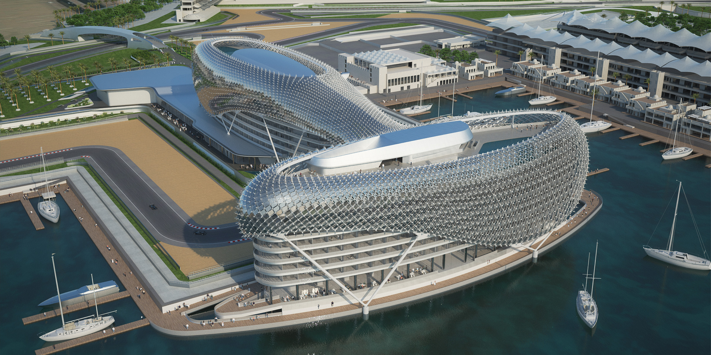 Amazing Construction Built Over F1 Racing Track-Yas Viceroy Abu Dhabi Hotel by Asymptote Architecture Homesthetics