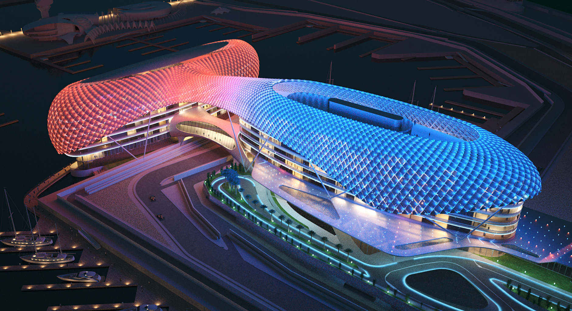futuristic shape in Amazing Construction Built Over F1 Racing Track-Yas Viceroy Abu Dhabi Hotel by Asymptote Architecture Homesthetics
