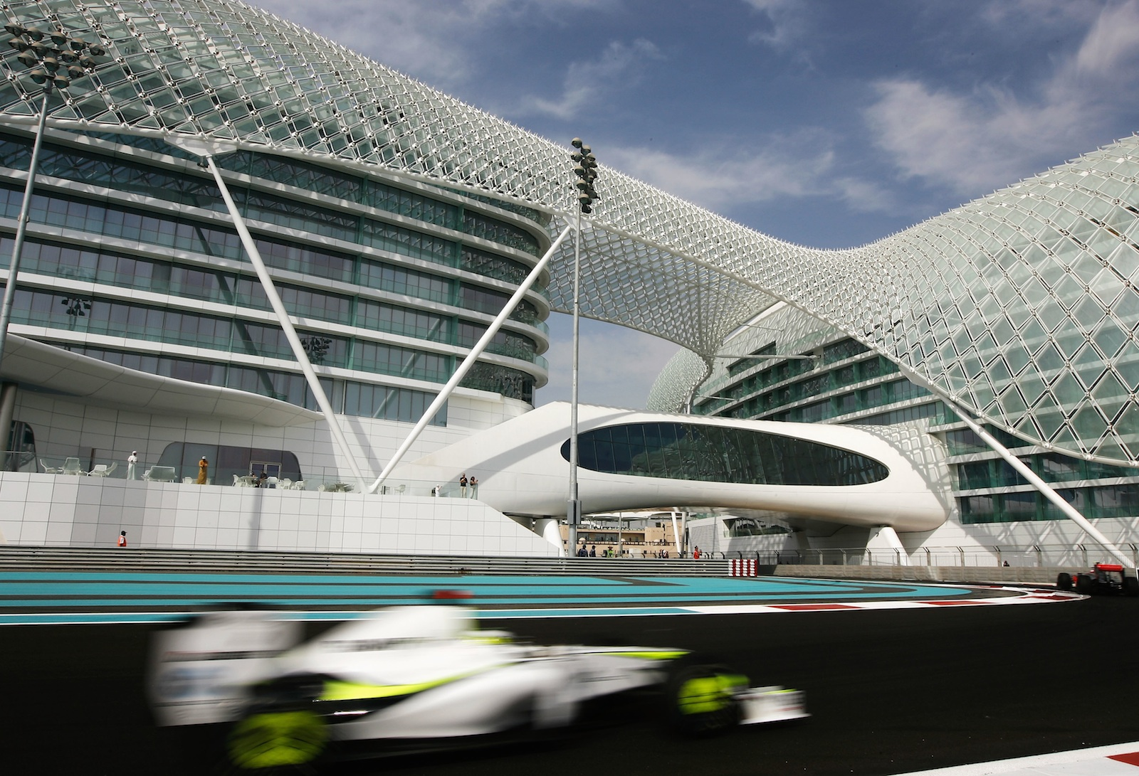 racing car in Amazing Construction Built Over F1 Racing Track-Yas Viceroy Abu Dhabi Hotel by Asymptote Architecture Homesthetics