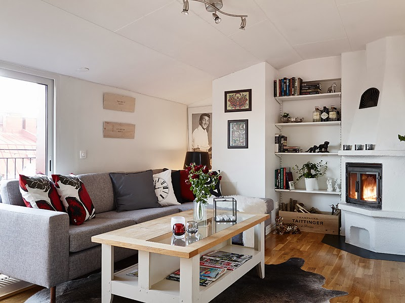 small living room design in Beautiful Small Attic Apartment in Sweden With Scandinavian Influences