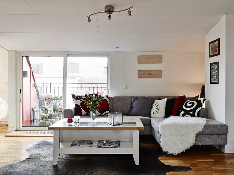 black and white living room design Beautiful Small Attic Apartment in Sweden With Scandinavian Influences