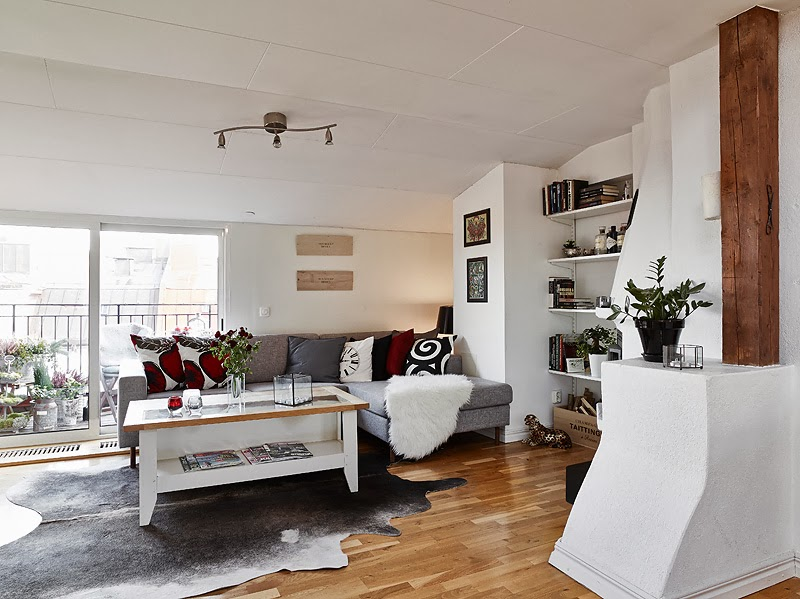 simple living room design Beautiful Small Attic Apartment in Sweden With Scandinavian Influences