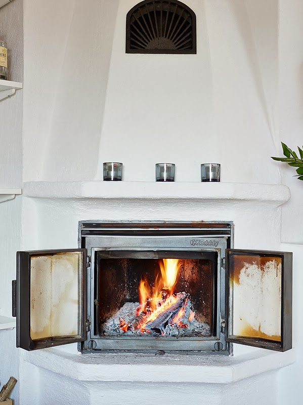 beautiful vernacular fireplace Beautiful Small Attic Apartment in Sweden With Scandinavian Influences