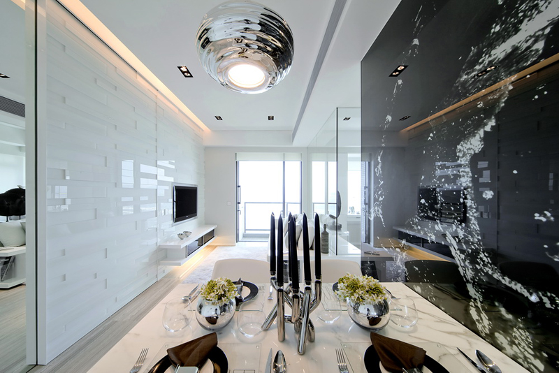 dinning room Black & White Dynamic Interior Design-Kindled Water Splashed on a Black Wall