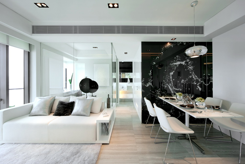 Lovely Simple Black And White Living Room Design And Dinning Room Black U0026 White  Dynamic Interior Design