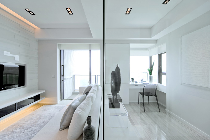 glass wall separator Black & White Dynamic Interior Design-Kindled Water Splashed on a Black Wall