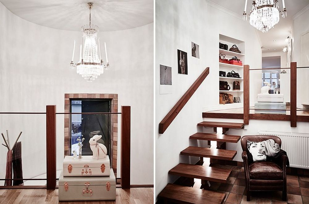 detail shot including the stair Black-and-White-Swedish-Apartment-Emphasizing-Small-Spaces-with-Elegance-with-Nobility-