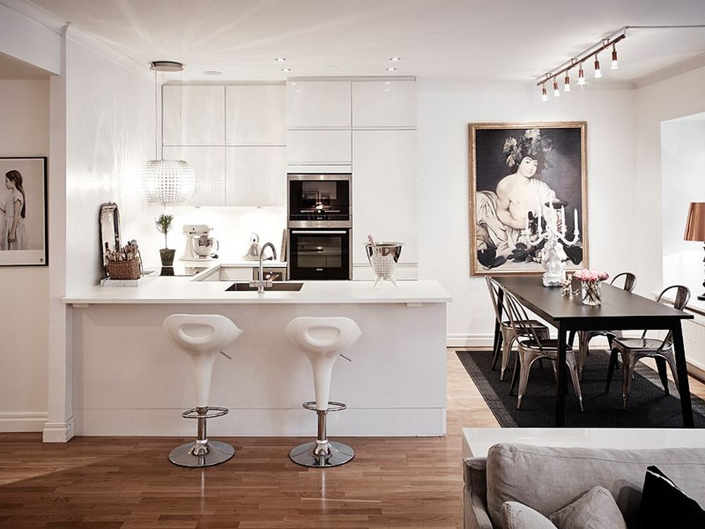 modern kitchen interior design and dinning Black-and-White-Swedish-Apartment-Emphasizing-Small-Spaces-with-Elegance-with-Nobility-