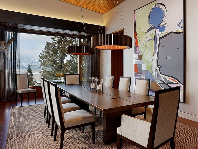 dinning room Butte Residence- The Home and Studio of an Artist Enjoying Spectacular Panoramic Views in Wyoming