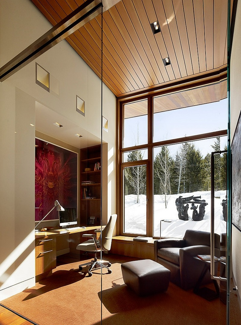 modern office design Butte Residence- The Home and Studio of an Artist Enjoying Spectacular Panoramic Views in Wyoming
