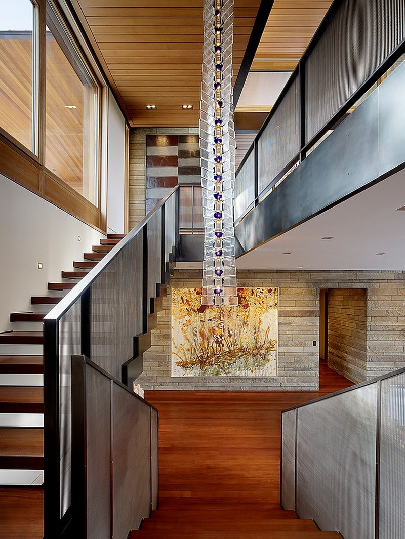 staircase access Butte Residence- The Home and Studio of an Artist Enjoying Spectacular Panoramic Views in Wyoming
