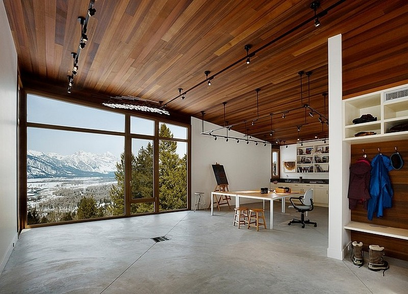workspace area in the Butte Residence- The Home and Studio of an Artist Enjoying Spectacular Panoramic Views in Wyoming