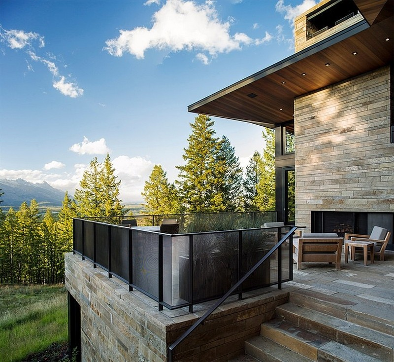 backyard landscaping ideas and patio on Butte Residence- The Home and Studio of an Artist Enjoying Spectacular Panoramic Views in Wyoming