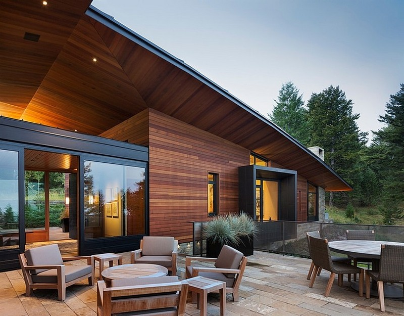 patio design in the Butte Residence- The Home and Studio of an Artist Enjoying Spectacular Panoramic Views in Wyoming
