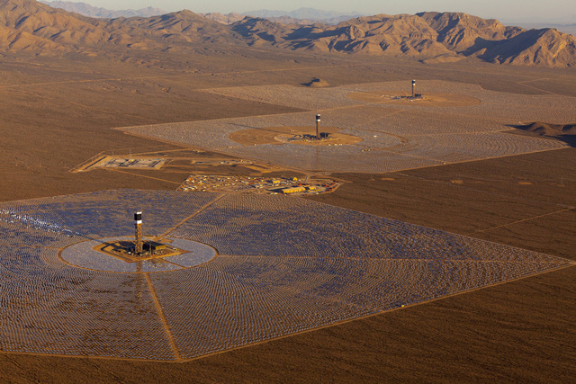 soler powerplant seen from the helicopter Ivanpah SEGS - World's Largest Solar Plant Started Creating Electricity Today