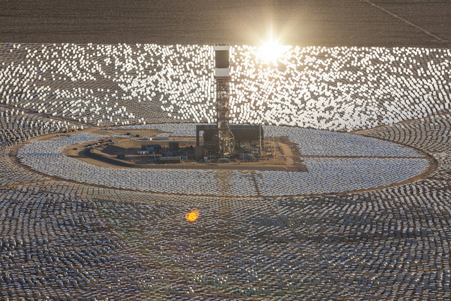 aerial perspective view of the Ivanpah SEGS - World's Largest Solar Plant Started Creating Electricity Today