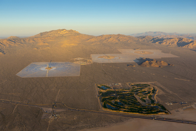 helicopter view of the Ivanpah SEGS - World's Largest Solar Plant Started Creating Electricity Today