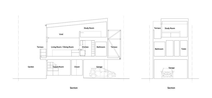 Minimalist japanese residence enhancing a narrow site house fin blueprint floorplant section plane trough minimalist japanese residence enhancing a narrow malvernweather Image collections