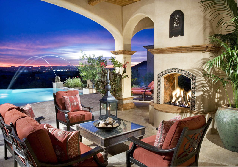 dinning terrace patio exterior with view towards the swimming pool of the Perfect Spot for Relaxation-Dream House Dominating the McDowell Mountain