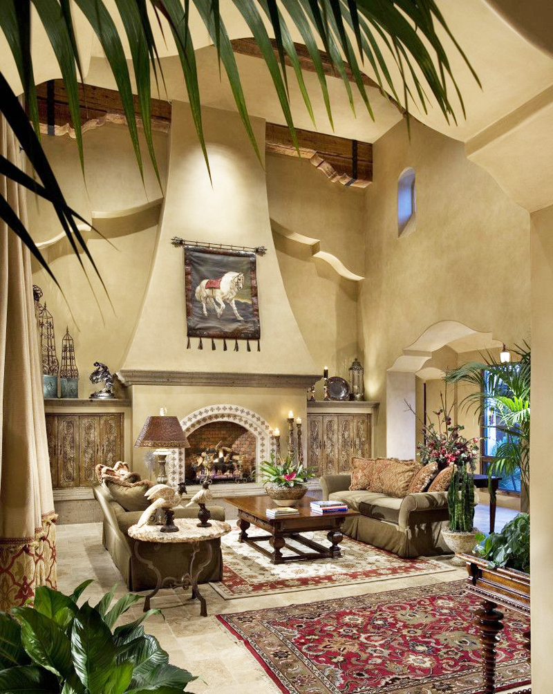 living room design with extraordinart fireplace and double height Perfect Spot for Relaxation-Dream House Dominating the McDowell Mountain