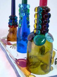 Recycle Wine Bottles Creatively Into Colorful Tuscan Lights Candlesticks