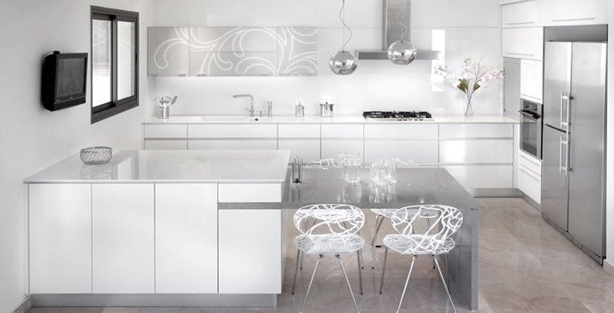 kitchen area Serene White and Black Contemporary Residence Overlooking The Sea in Israel