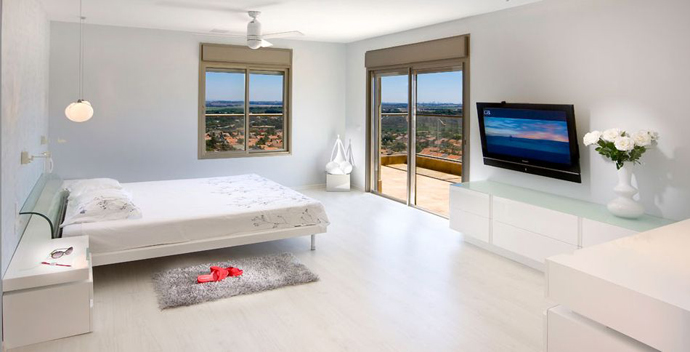 bedroom interior design Serene White and Black Contemporary Residence Overlooking The Sea in Israel