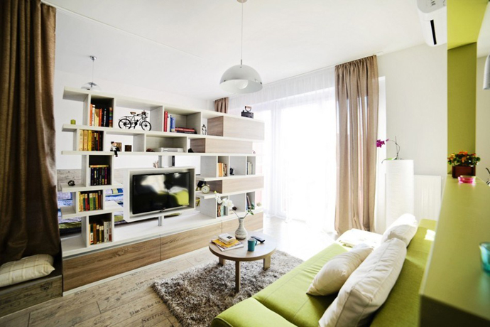 green lime and light wood living room design in aSmall-Apartment-of-Just-24-m²-Designed-by-Cristina-Bordoiu-in-Arad-Romania