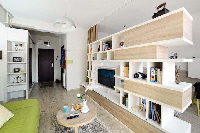 small living room design with green lime and light wood Small-Apartment-of-Just-24-m²-Designed-by-Cristina-Bordoiu-in-Arad-Romania