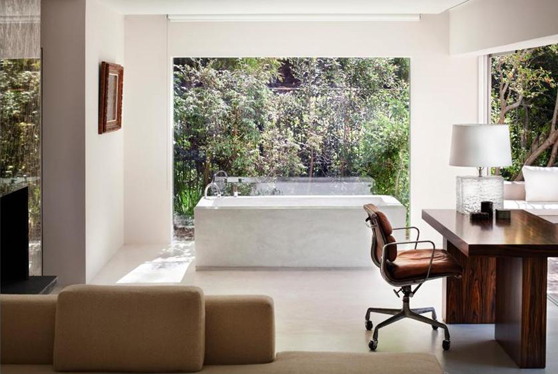 office desk and breathtaking bathroom Bridle Road House by Antonio Zaninovic Winning 2010 Honor Award from the American Society and Landscape Architects