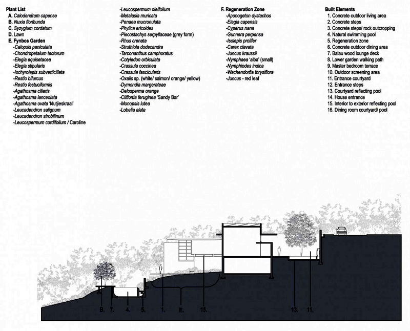 blueprint floorplan section plane trough Bridle Road House by Antonio Zaninovic Winning 2010 Honor Award from the American Society and Landscape Architects