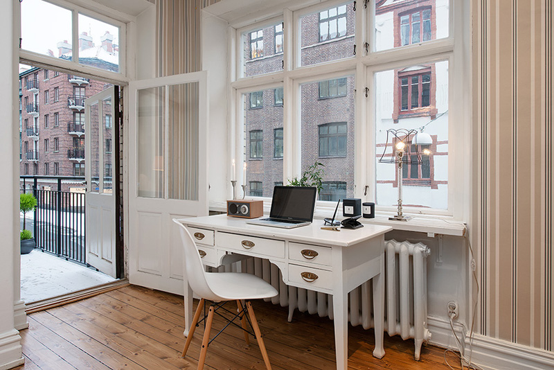 desk area in the Clean-Timeless-Beauty-Materiallized-in-Scandinavian-Interior-Design-with-a-Black-and-White-Theme