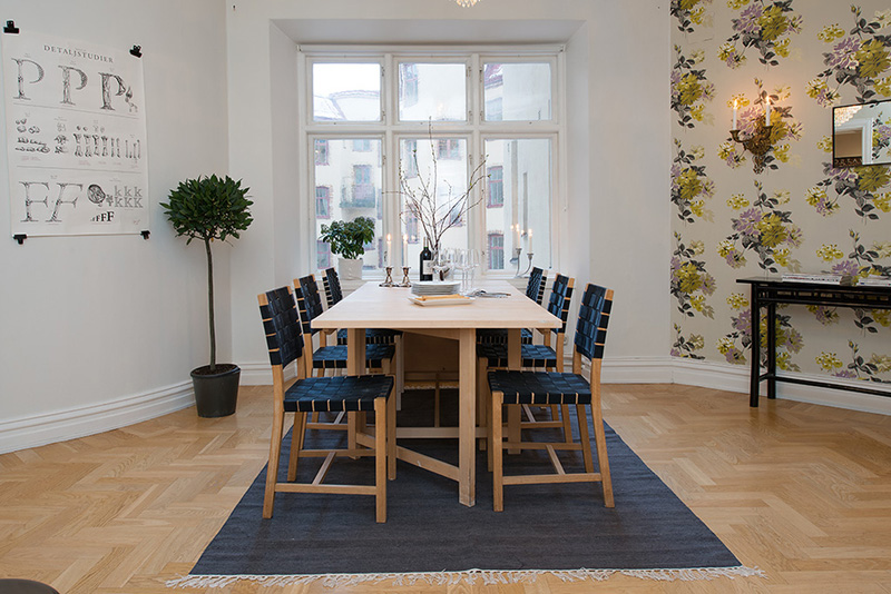 dinning area in the Clean-Timeless-Beauty-Materiallized-in-Scandinavian-Interior-Design-with-a-Black-and-White-Theme