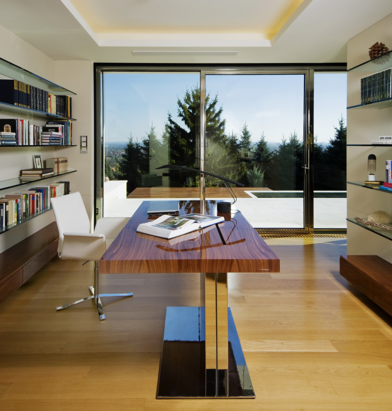 high end desk area Cliff View Modern Mansion with High End Finshishes by Architema, Hungary