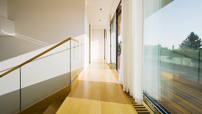 hallway Cliff View Modern Mansion with High End Finshishes by Architema, Hungary