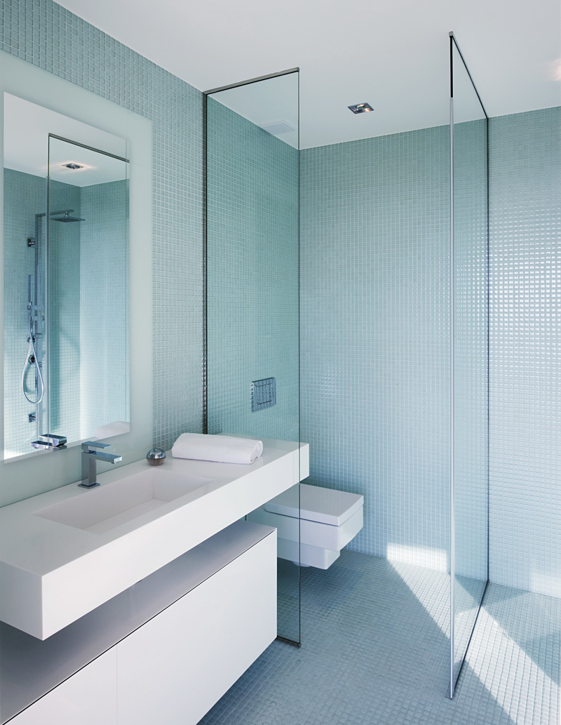 minimalist bathroom design Cliff View Modern Mansion with High End Finshishes by Architema, Hungary
