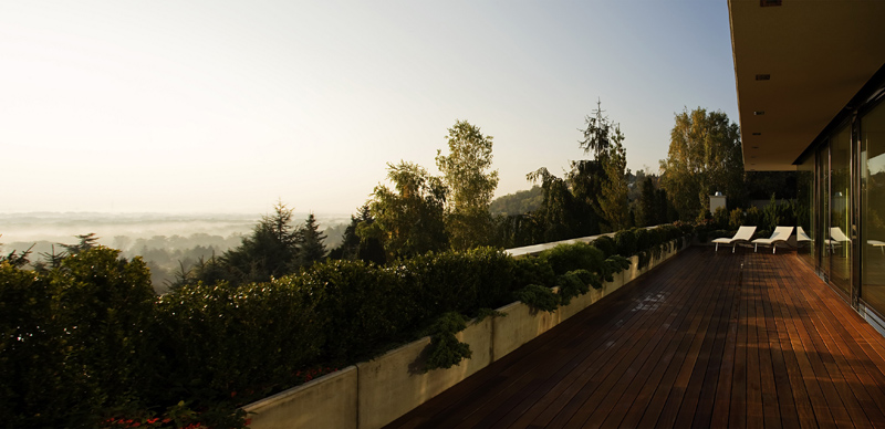 terrace patio view Cliff View Modern Mansion with High End Finshishes by Architema, Hungary