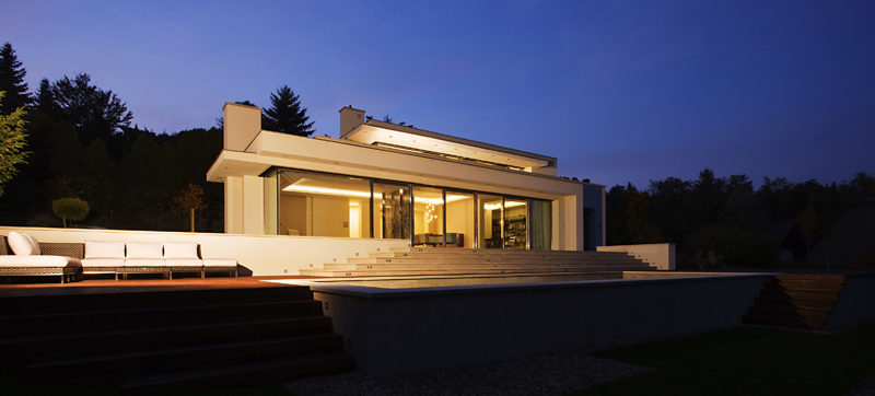 Cliff View Modern Mansion with High End Finshishes by Architema, Hungary at night