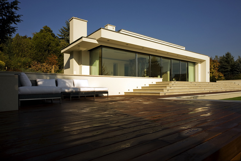 terrace and patio of theCliff View Modern Mansion with High End Finshishes by Architema, Hungary