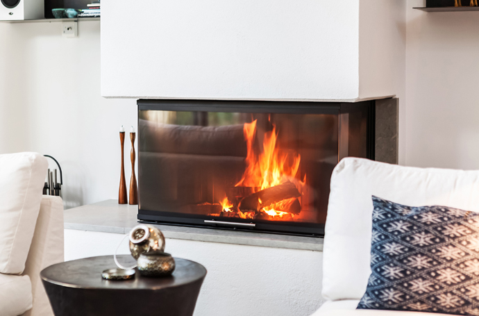 perfect modern fireplace design in the Vivid-Interiors-and-Serene-Atmosphere-Produced-with-High-Contrasts-in-Stockholm-by-Franson-Wreland