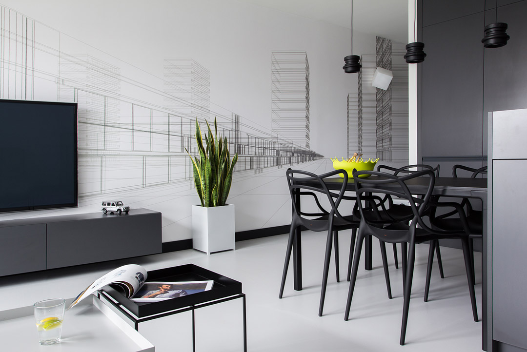 black and white living room design in the BoldMasculine-Black-and-White-Apartment-Enhanced-by-Colorful-Details
